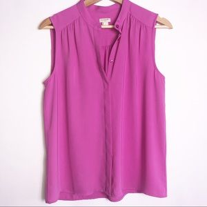 J Crew Factory Pink Sleeveless Button Up Shirt 6
